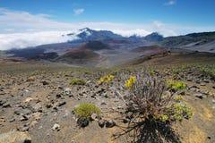 Caldera van de Haleakala-vulkaan in het eiland van Maui Stock Afbeelding