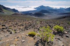 Caldera van de Haleakala-vulkaan in het eiland van Maui Stock Foto
