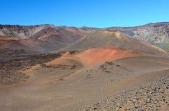 Caldera van de Haleakala-vulkaan in het eiland van Maui, Hawaï Royalty-vrije Stock Foto's