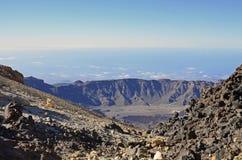 Caldera van de Teide-vulkaan Stock Foto