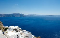 Caldera view. With the white terraces of Santorini offers magnificent views of the sea and the caldera Royalty Free Stock Image