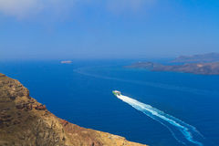Caldera view with cruise ship at Santorini Stock Photography