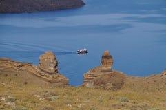 Caldera view with cruise ship on sea,Santorini,Greece. Stock Photos