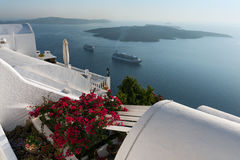 Caldera View. Panoramic view of Santorini volcano Royalty Free Stock Image