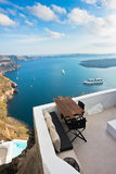 Caldera view and volcano island with cruisers anchored around at Santorini. Greece Royalty Free Stock Photos