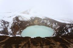 Caldera Viti σε Askja, κεντρικό ορόσημο της Ισλανδίας στοκ εικόνες