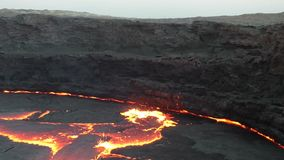 Caldera of Volcano Erta Ale stock footage