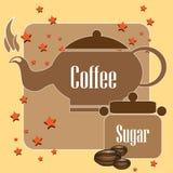 Caldera y azúcar del café Imagenes de archivo
