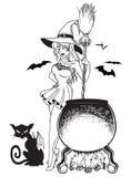 Caldera y Cat Bat Line Art de la bruja stock de ilustración