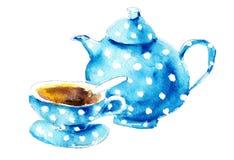 Caldera y taza azules de la acuarela Imagenes de archivo