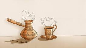 Caldera y taza del café - dibujadas en el papel - esquema negro Fotografía de archivo libre de regalías