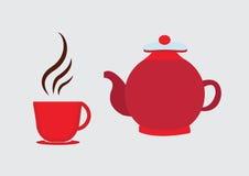 Caldera y taza del pote del té Fotos de archivo libres de regalías