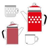 Caldera y taza rojas del hierro para el café Fotos de archivo libres de regalías
