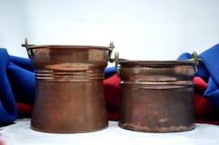 Calderas de cobre Fotos de archivo libres de regalías