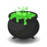 Calderone con pozione verde Fotografia Stock