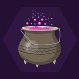 Calderone delle streghe di Halloween del fumetto con il rosa che bolle cucinando il vaso magico di arte e vettore della pozione d Immagine Stock