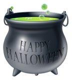 Calderone felice della strega di Halloween Fotografie Stock Libere da Diritti