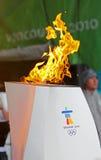 Calderone olimpico della fiamma Fotografie Stock