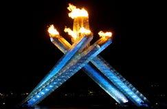 Calderone olimpico della fiamma di Vancouver Fotografia Stock Libera da Diritti