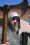 CALDES, ITALY- July 16,17 2016, - Portrait of medieval soldier during the event Amor Cortese, in Caldes, Italy. Portrait of a man with medieval soldier with a Stock Photos