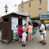 Caldey Island Boat Trip (South Wales). A ticket office in Tenby, South Wales, where tickets can be purchased for a trip on a boat to Caldey Island which is just Stock Photos