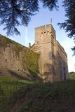 Caldicot Castle. View of the Gatehouse from the now dry moat of Caldicot Castle in Monmouthshire South Wales Royalty Free Stock Image