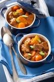 Caldo de buey con la patata y la zanahoria en potes azules Foto de archivo libre de regalías