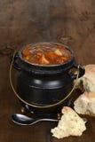 Caldo de buey con pan Foto de archivo libre de regalías