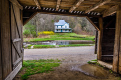 Caldwell House, Cataloochee Valley, GreatSmoky Mou. Spring time at the old Caldwell homestead in the Cataloochee Valley of the Great Smoky Mountain National Park Stock Photo