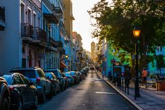 Cale San Francisco, a street of San Juan in the evening. San Juan, Puerto Rico/US - JANUARY 30, 2018: Cale San Francisco, a street of San Juan in the evening Stock Photography