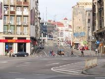 Calea Victoriei大道在中央布加勒斯特,罗马尼亚 库存照片