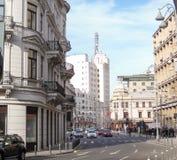 Calea Victoriei大道在中央布加勒斯特,罗马尼亚 免版税库存照片