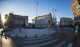 Calea Victoriei,在布加勒斯特老市 免版税库存图片
