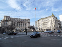 Calea Victoriei boulevard i centrala Bucharest, Rumänien Arkivbild
