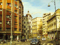 Calea Victoriei boulevard i centrala Bucharest, Rumänien Arkivfoto