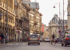 Calea Victoriei, Bucharest gammal arkitektur arkivfoton