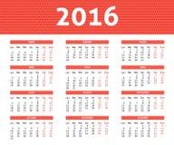caledar 2016 anni in Spanis nel colore rosso-chiaro Fotografia Stock