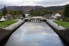 Caledonian Canal, Fort Augustus. At Fort Augustus you can also enjoy a visit to the Caledonian Canal Heritage Centre which details the history of the canal stock photo