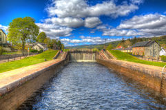 Caledonian canal lock gate Fort Augustus Scotland UK in colourful HDR Royalty Free Stock Image