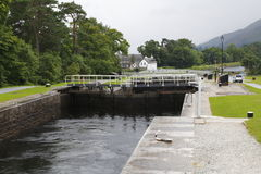 Caledonian canal staircase. Caledonian canal, Banavie locks, Neptune's Staircase, near fort william in Scotland Stock Image