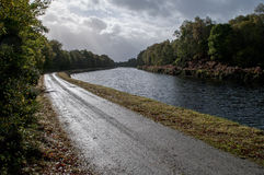 Caledonian Channel. Near Benavie, Towpath of the Caledonian chanel, Autumn colors Royalty Free Stock Photos