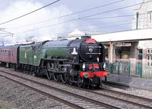 Caledonian Tornado at Carnforth, Lancashire, U.K. Royalty Free Stock Photos
