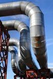 Calefacción urbana, tubería de arriba, curvas de tubo imágenes de archivo libres de regalías