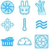 Calefacción y línea de enfriamiento ejemplo aislado iconos ilustración del vector
