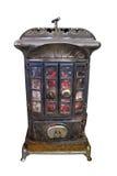Calefator ardente de madeira velho isolado Foto de Stock Royalty Free