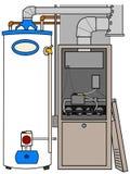 Calefator da fornalha e de água ilustração do vetor