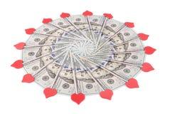 Caleidoscópio da mandala do dinheiro fotografia de stock