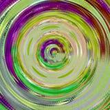 Caleidoscópio espiral verde, amarelo e roxo ilustração stock