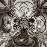 Caleidoscoopmening van gotisch kerkbinnenland, weinig planeeteffect royalty-vrije stock afbeeldingen
