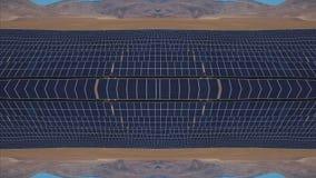 Caleidoscopio creativo dalla struttura con il fuco Pannelli solari nelle montagne Il concetto dei problemi di rinnovabile stock footage